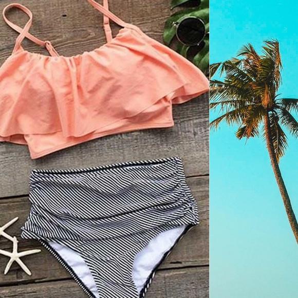 82ddd45aee Cupshe Swim | Seaside Gale Falbala Highwaisted Bikini Set | Poshmark